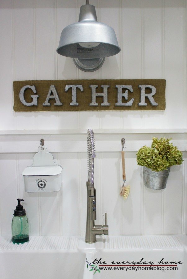 Farmhouse Burlap and Galvanized Letter Gather Sign | The Everyday Home | www.everydayhomeblog.com